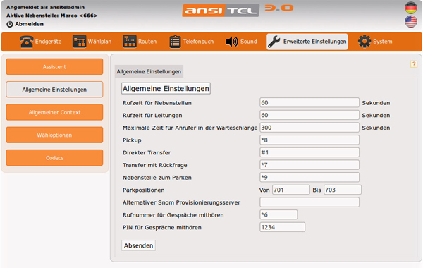 Asterisk Webinterface 3.0